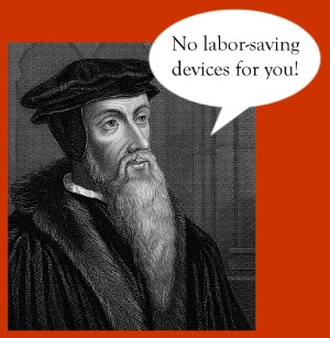 John Calvin with speech bubble saying
