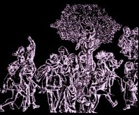 peasants dancing around the may tree