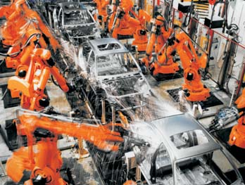 robots in car factory