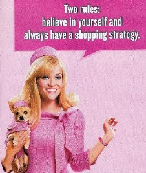 ad from movie magazine, woman in pink with pet dog says Two Rules: believe in yourself and always have a shopping strategy